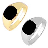 ágata piedra hombres anillo de oro al por mayor-Anillo de los hombres de moda punk anillo de esmalte negro oro plata 7-12 tamaño anillos joyería para el regalo caliente