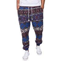 etnik giyim erkek toptan satış-Etnik Pantolon Erkekler Baskılı İpli Jogger Pantolon Pamuk Keten Rahat Sweatpants Giyim Artı Boyutu Elastik Pantolon