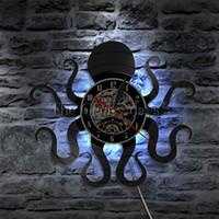 ingrosso orologi da parete moderni-1Piece Octopus Design Orologio da parete realizzato in vinile Home Decor moderno regalo esclusivo Ocean Animals Wall Hanging Decor