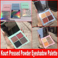Wholesale green highlighters - Newest Kourt Blue Pink Green pressed powder Eye Shadows Palette Kourt 4 Colors shimmer Eyeshadow highlighter Palette