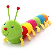 Wholesale Caterpillars Plush - Caterpillar Plush Toys for Children 55cm Colorful Plush Toys Stuffed Cotton Kids Caterpillar Hold Pillow Toys Doll VE0473