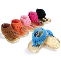 Wholesale baby girl cute sandals for sale - Baby girls cute sandals tassel summer baby sandals soft sole PU child girls shoes non slip infant soft toddlers kids shoes