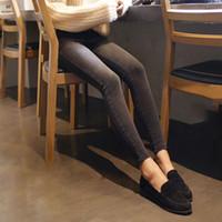ingrosso coreano moda pantaloni donne-Pantaloni a matita Moda Jeans sottili a vita alta Nove piedi femminili coreani grigi Pantaloni a matita 9 Jeans neri skinny in jeans da donna