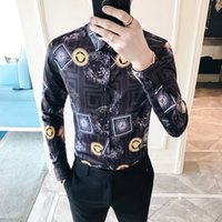 Wholesale Baroque Prints - Gold Black White Shirt Baroque Party Prom Social UK Club Shirts For Men Fashon 4xl Printed Shirt Men Casual Long Sleeve 2018 Srping