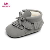 Wholesale Toddler Fashion Boots Brown - MUGEW Toddler Newborn shoes Baby Boys Girl Crib Winter Boots Prewalker Warm Martin Shoes Fashion Tassel Bow Tie toddler