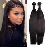 Wholesale human braiding hair weft free resale online - 2pcs Double Weft Peruvian Hair Weave Weft Natural Black Color Human Hair Extension Braid Bella Hair Julienchina U S