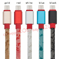Wholesale usb printing cable - Fast Charger Leather Alloy With English Words Print 1m 3ft Micro 5pin usb data charging cable for samsung s6 s7 edge htc android phone 7 8