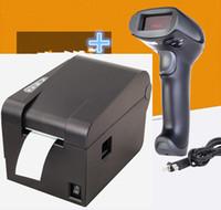 escáner código qr al por mayor-1 Wired Barcode Scanner + etiqueta de la ropa 58mm impresora de códigos de barras térmicos etiqueta impresora Qr código de la etiqueta que no se seca