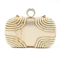 Wholesale Ring Nylon - Fashion Lovely Ring rhinestone women bag clutch evening bags gold cosmetics case small purse bag for wedding party diner