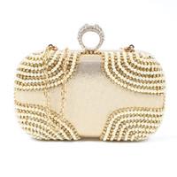 schöne abendtaschen großhandel-Mode Schöne Ring Strass Frauen Tasche Kupplung Abendtaschen Gold Kosmetik Fall kleine Handtasche Tasche für Hochzeit / Party / Diner