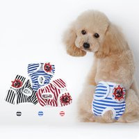 Wholesale extra diapers resale online - Dog Stripe Physiological Pants Dogs Safety Trousers Polite Fashion Teddy Clothing Pets Supply Ropa Rara Perros hp gg