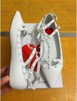Wholesale low heel champagne wedding shoes - 2017 Luxury desig matte leather Women falts Pointed Toe Sandals Slingback Studded T-Strap Rivet falt shoes