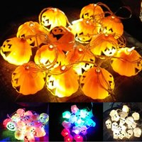 tiras de calavera al por mayor-Halloween Skull Pumpkin Lamp LED Strips 16 LED para la fiesta de fin de año Twinkle Lighting Christmas Decoration Lights String