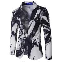 chinesische blumenjacke großhandel-Mens Floral Blazer Slim Fit Single Button Tinte gedruckt Jacke Herbst dünne Anzug chinesischen Stil Ink Malerei Vintage Anzüge formale