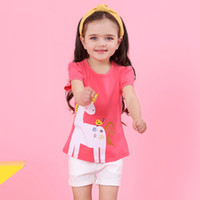 Wholesale trousers for girls fashion online - unicorn Red T shirt and white trousers for girl new baby girls summer outfits kids fashion clothes set children suit