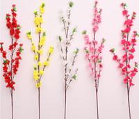 decorações de casamento com pêssego venda por atacado-65 cm 160 pcs cereja artificial ameixa primavera flor de pessegueiro ramo de seda árvore de flor para festa de casamento decoração branco vermelho rosa amarelo 5 cores