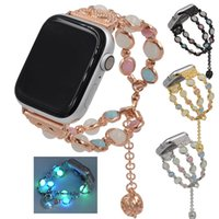 ingrosso braccialetto di perle guarda le donne-Cinturino per gioielli donna per Apple Watch 38mm 40mm 42mm 44mm Luminous Pearl Bracelet per iWatch Series 4 3 2 1 Wristband