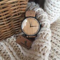 ingrosso orologi da orologio al quarzo-BOBO BIRD LE19 Bamboo quadrante in legno moda orologi Mujer orologio al quarzo cinturino in pelle acciaio inossidabile per le signore Y1890304