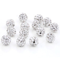 Wholesale bead bracelet disco ball resale online - Cheap mm WHITE Micro Pave CZ Disco Ball Crystal Bead Bracelet rhinestone Necklace jewelry Beads