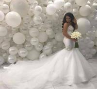 arabische sexy brautkleider großhandel-Arabischer Naher Osten Mermaid Brautkleider 2019 Schatz Sicke Spitze Gericht Zug Elfenbein Vintage Brautkleider BA8884