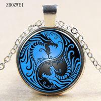 tai chi yin yang подвеска ожерелье оптовых-new blue dragon and phoenix yin and yang Tai Chi glass pendant necklace for men women clothing accessories pendant necklace