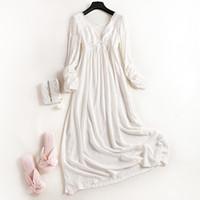 prinzessinnen nachthemd großhandel-New Wonens 100% Baumwolle Royal Princess Long Pyjamas Weißes Nachthemd mit langen Ärmeln Herbst Langarm-Nachtwäsche Damen-Pyjamas Trainingsanzug