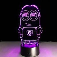 Wholesale minion lights - Lovely 3D Illusion Minions Lamp Sensor Night Light LED Lighting Touch Table Lamp Nightlight Home Children Bedroom Decor