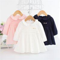 sonbahar bebek partisi elbisesi toptan satış-Bebek Kız Elbiseler Uzun Kollu Sonbahar Güz Giyim Beyaz Pembe Doğum Günü Vaftiz Elbise Işlemeli Balo Parti Elbise A014