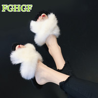 65acbb54051e 2019 Korean version of the new hairy open-toed sandals Women s Furry Slippers  Ladies Cute Plush Hair Fluffy Slippers