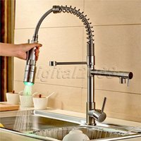 Wholesale valve brush - Deck Mounted Cold and Hot Switch Pull Down Spray Mixer Faucet LED Ceramic Valve Brushed Basin Nickel Kitchen Sink Mixer Faucet