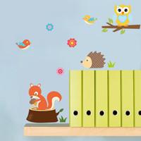 стильные стилисты оптовых-Лес животных Сова фрески детская комната спальня фон стикер стены водонепроницаемый съемный наклейки Home Decor 4 5nc gg