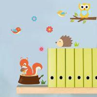 orman hayvanları duvar resimleri toptan satış-Orman Hayvan Baykuş Resimleri Çocuk Odası Yatak Odası Arka Plan Duvar Sticker Su Geçirmez Çıkarılabilir Çıkartmaları Ev Dekor 4 5nc gg