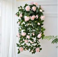 ingrosso giardinaggio peonies-rose di seta peonia falso Fiori artificiali Appeso a muro Ghirlanda Vine Trailing Staffa Pianta per la casa decorazione del giardino di nozze