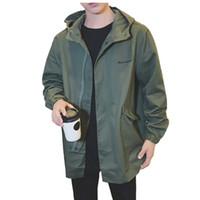 veste de tranchée armée achat en gros de-Armée verte Trench hommes coréenne Fashion Style Vêtements Homme capuche Trench Veste coupe-vent Hommes Vintage High Street