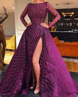 thigh high slit gowns Canada - Jewel Long Sleeves Thigh High Slits Ball Gown Luxurious Major Beading Evening Dresses Evening Gown New Arrival