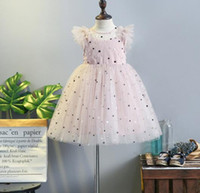 Wholesale spring polka dot dress - DHL free 2018 girls dress round collar Polka dots Embroidery mesh patchwork princess dress girl's elegant soft summer dress 2 colors