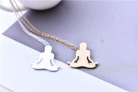 Wholesale yoga figures resale online - Popular new European and American religious pendant alloy yoga key body bright face clavicular necklace lovely meditation figure patter