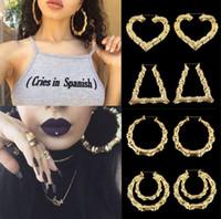 brincos de aros ocos venda por atacado-9 cm par de moda do punk tom de ouro rock hip-hop estilo big grande de bambu brincos oco hoop círculo mulheres jóias