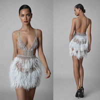 Berta 2021 Feather Cocktail Dresses Sexy Short Spaghetti V Neck Backless Beaded Prom Gowns Illusion Formal Evening Dress