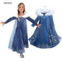 ropa de nieve al por mayor-Snow Queen vestidos para niña de disfraces primavera otoño adolescente niños Elza copo de nieve encaje princesa Frock Kid Deguisement Cosplay ropa