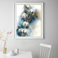 Wholesale Flower Watercolor Paintings - Cotton Flowers Print Modern Canvas Watercolor Painting Floral Wall Art Painting Abstract Decor Picture Living Ilustration