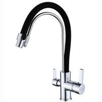 pia de cozinha rotativa venda por atacado-Kitchen Sink Faucet Rodar com Válvula de cerâmica único punho um buraco Chrome acabamento preto Pintura