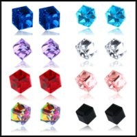 Wholesale 6mm Crystals - 6*6mm Studs Strong Magnetic Cube Mini Earrings Crystal Gemstone Non-Ear Hole Earring 10 Colors for Women Men