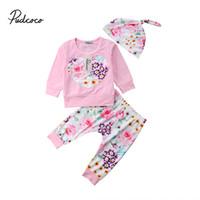 зимняя одежда для новорожденных оптовых-Newborn Baby Girl Fall Winter Clothes Set Long Sleeve T-Shirt Tops+Flower Pants Outfits Boutique Clothing 0-24