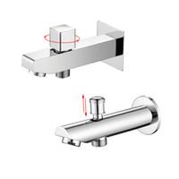 Wholesale Wall Mount Bathtub Faucets - Bathtub Spout Chrome Finish Wall Mounted Shower Spout Faucets Tap Brass Bibcocks Square Shape Bathroom Tub Spout Accessories