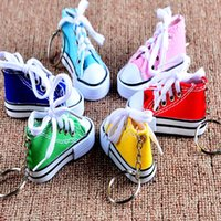Wholesale mini tennis keychain - Creation Mini 3D Sneaker Keychain Canvas Shoes Key Ring Tennis Shoe Chucks Keychain Party Favors 7.5*7.5*3.5cm HH7-1033