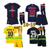 Wholesale paris kids - 2019 Paris kids kits+sock NEYMAR JR soccer jersey 18 19 MBAPPE CAVANI MARQUINHOS LUCAS DI MARIA MATUIDI DANI ALVES Children football shirts
