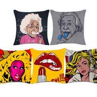 funda de almohada retrato al por mayor-Jim Morrison Einstein Fundas de cojines para retratos Estilo pop Audrey Hepburn Funda de almohada para sofá Funda de almohada de algodón de lino grueso Decoración de dormitorio