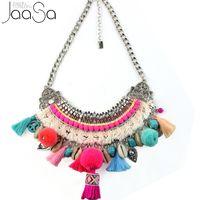 Wholesale tibetan tassel pendants - 2017 New handmade Boho Choker Necklaces Tibetan tassel ball pendants Necklaces beaded charm necklace