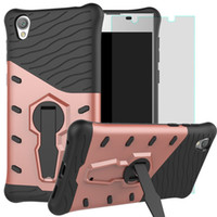 Wholesale cases for xperia z - Dual Layer Rugged Rubber Hybrid Armor Defender Robot Kickstand Silicone PC Cases For Sony Xperia XA1 XA2 XZ1 X Z XZ Z1 L1 L39H & LG Series